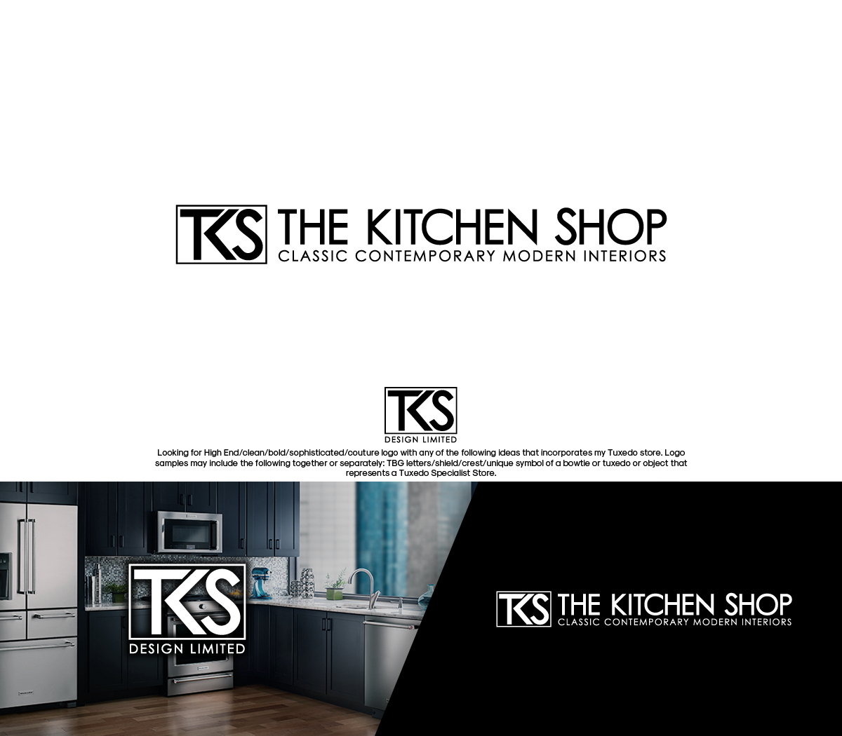 Upmarket elegant residential construction logo design for Kitchen design jobs ireland