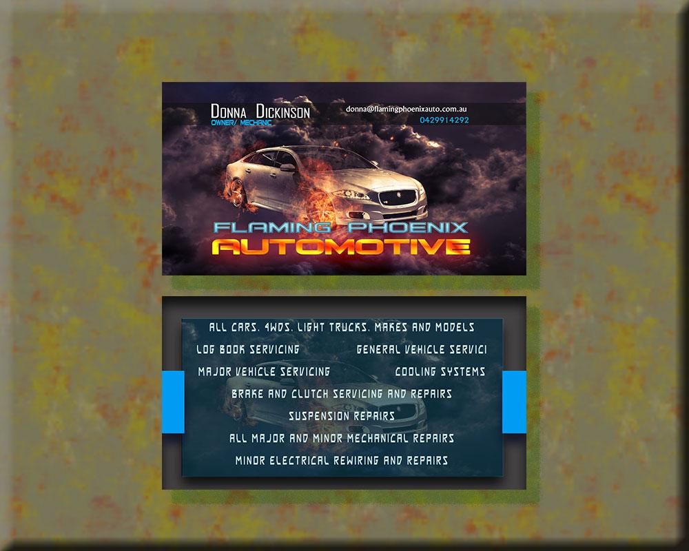 Bold professional automotive business card design for flaming bold professional automotive business card design for flaming phoenix automotive in australia design 15482018 reheart Choice Image