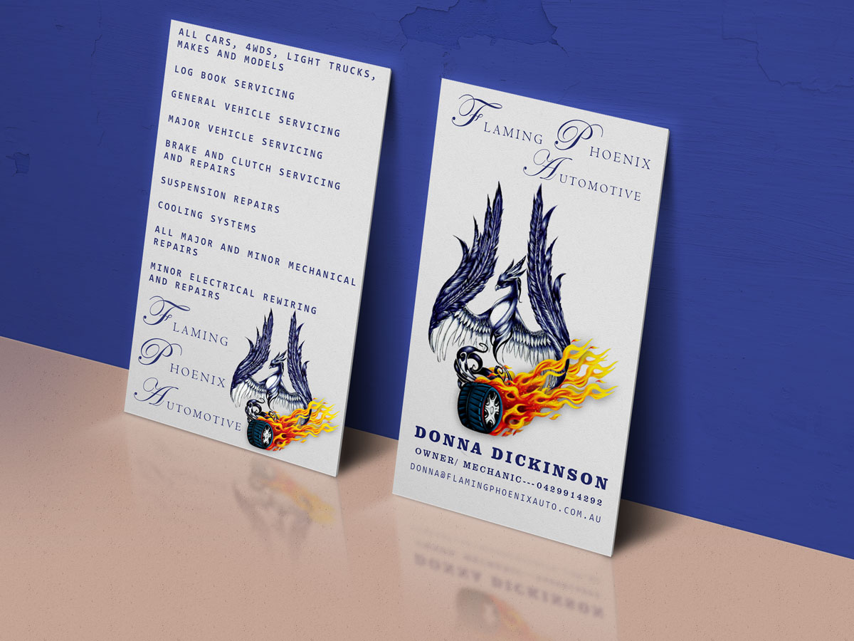 Bold professional automotive business card design for flaming bold professional automotive business card design for flaming phoenix automotive in australia design 15482673 reheart Choice Image