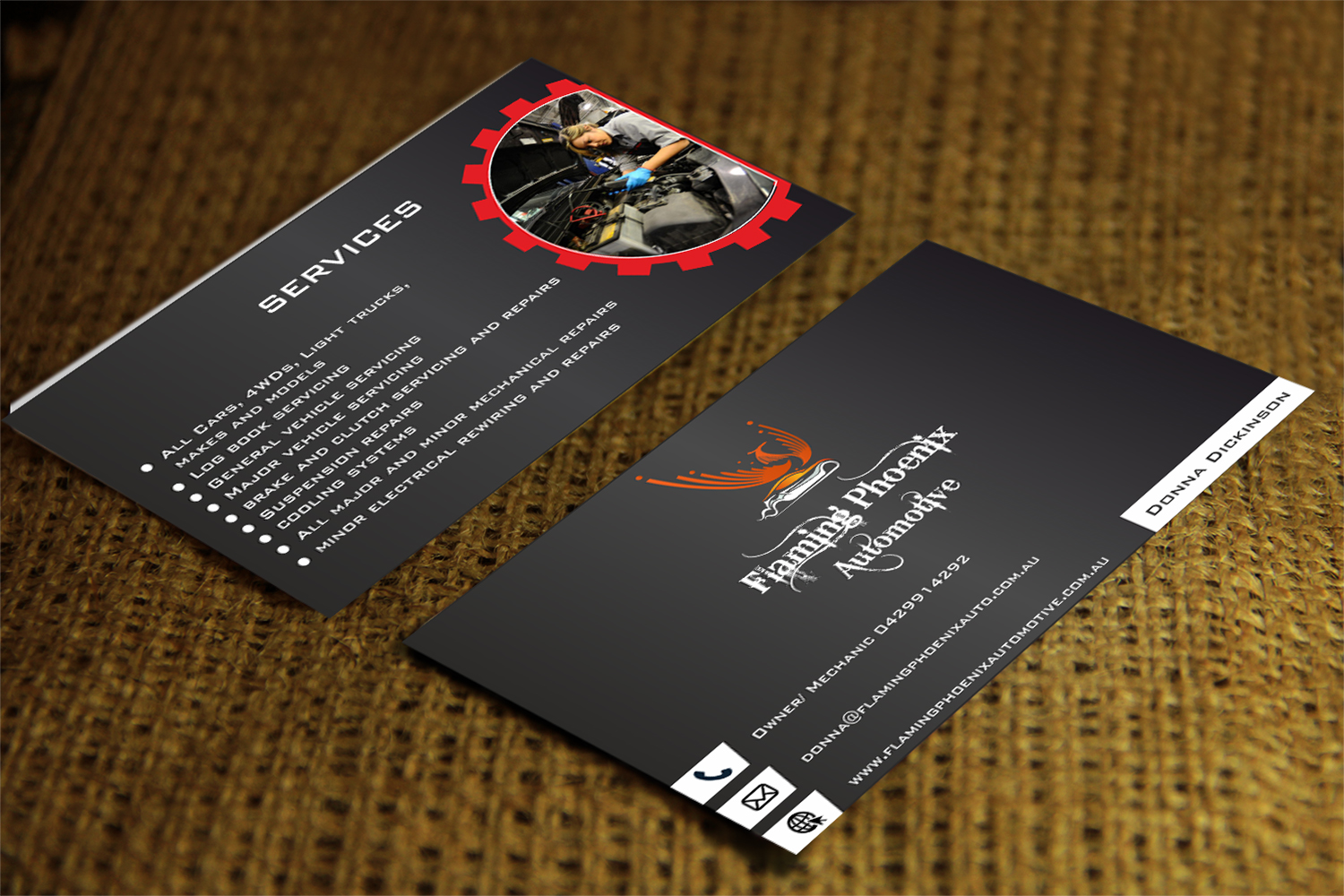 Bold professional automotive business card design for flaming business card design by vishalsvachheta for flaming phoenix automotive design 15576770 colourmoves