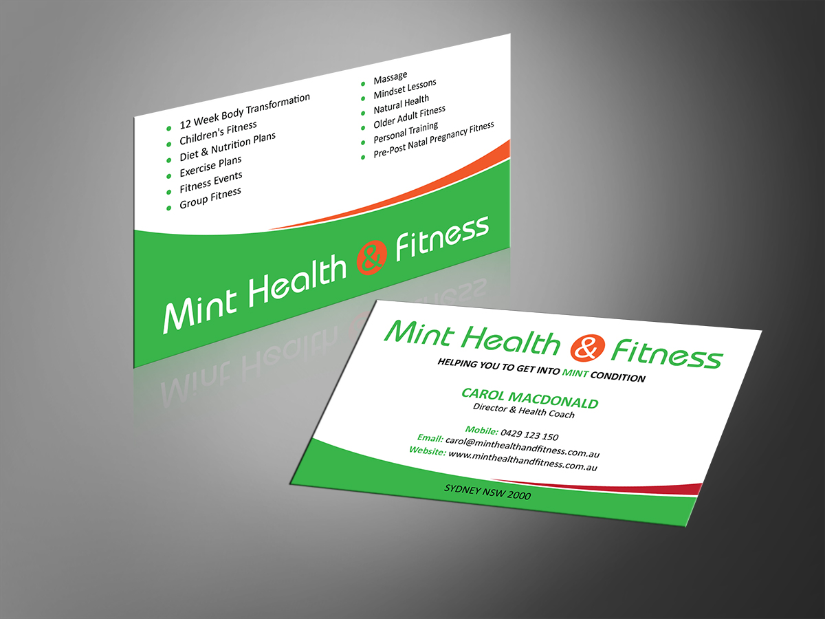 Modern, Playful, Business Business Card Design for MINT Health and ...