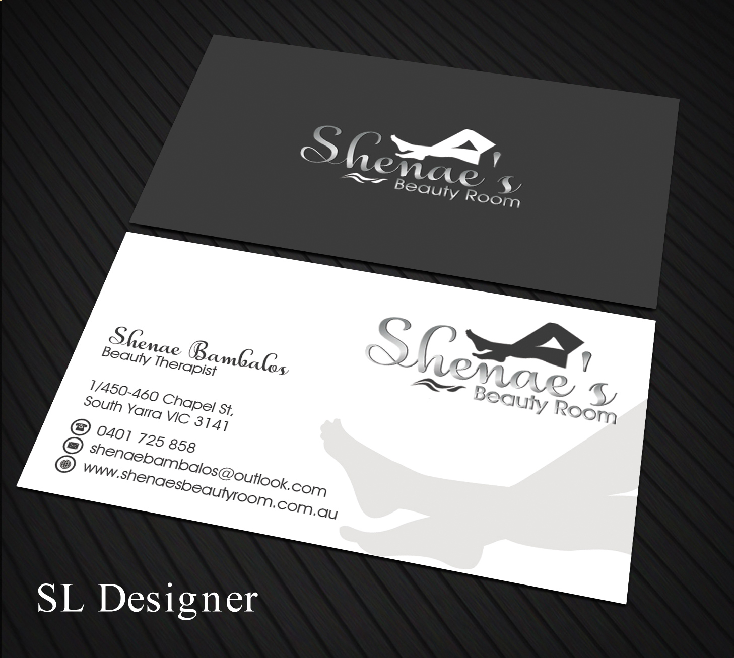 Elegant feminine business card design for shenaes beauty room by business card design by sl designer for small beauty therapy room here in melbourne needs a colourmoves