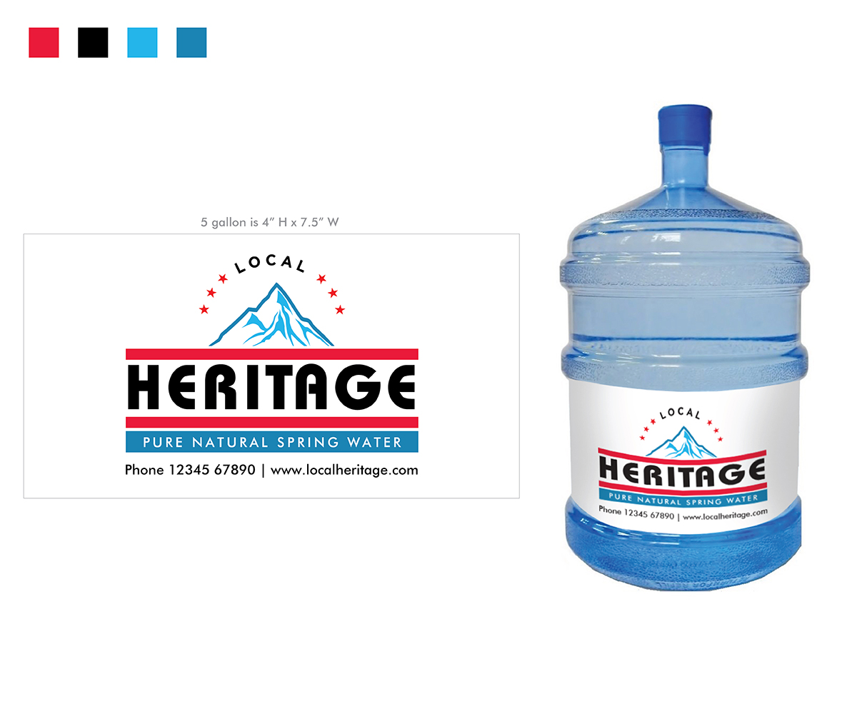 bold serious water company logo design for local heritage pure