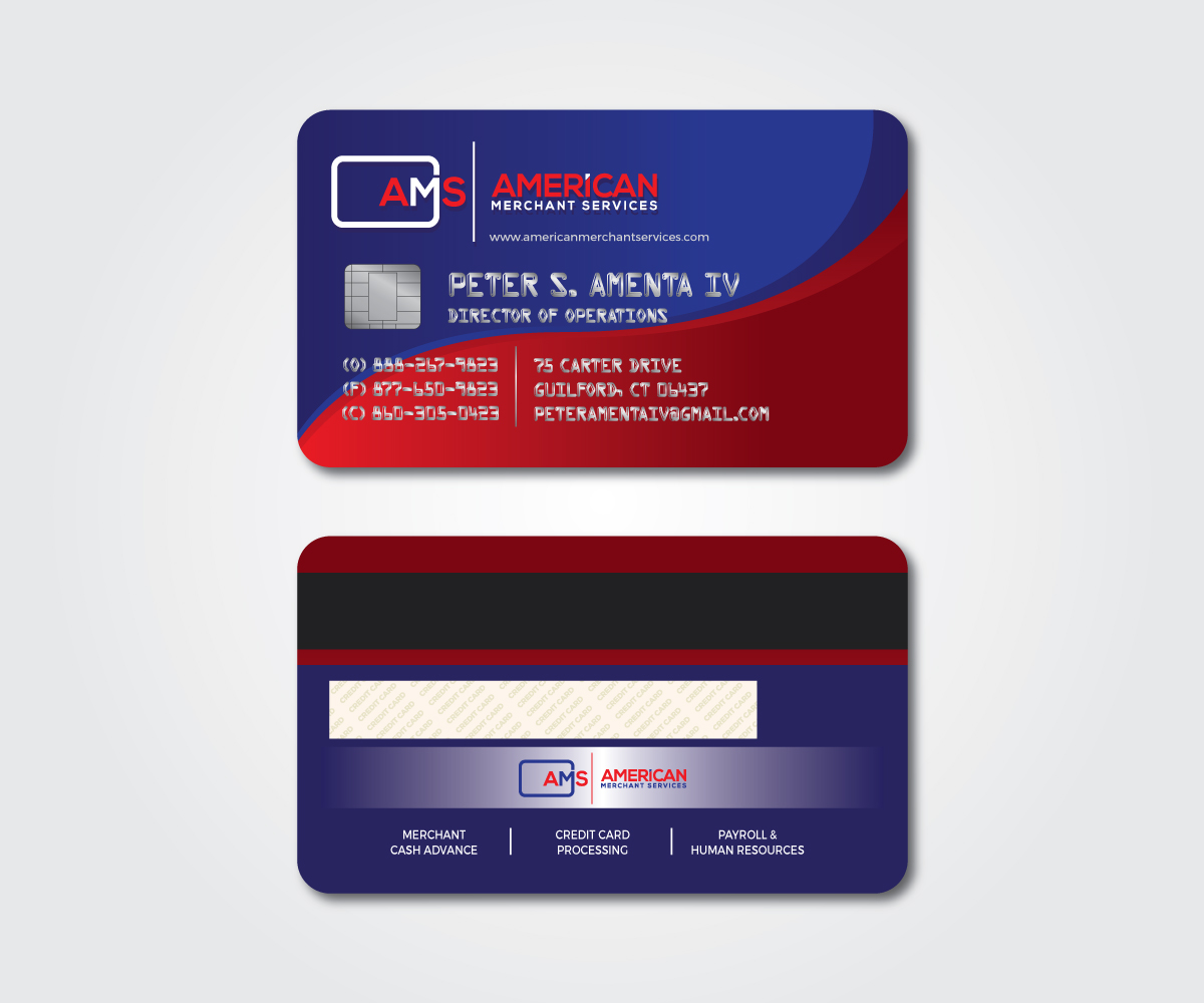 Elegant playful credit card business card design for american business card design by mpirs for american merchant services llc design reheart Image collections