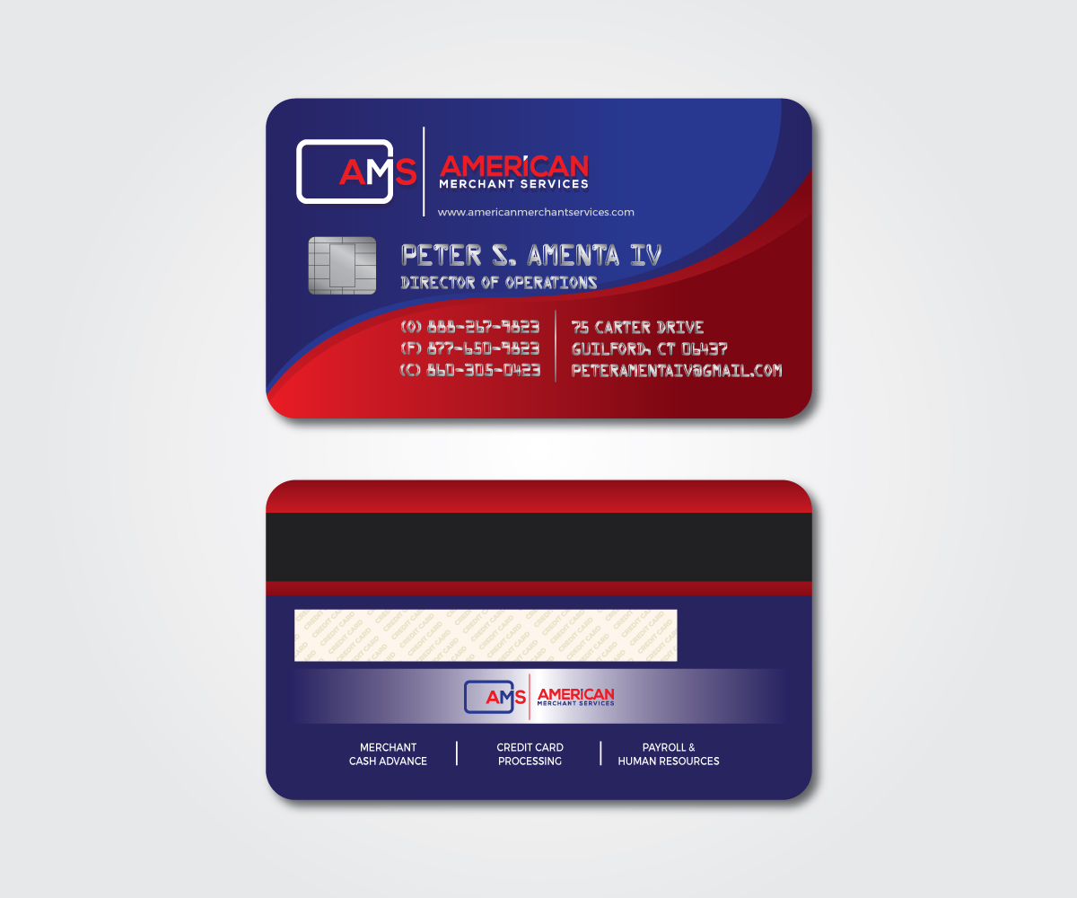 Elegant playful credit card business card design for american business card design by mpirs for american merchant services llc design colourmoves