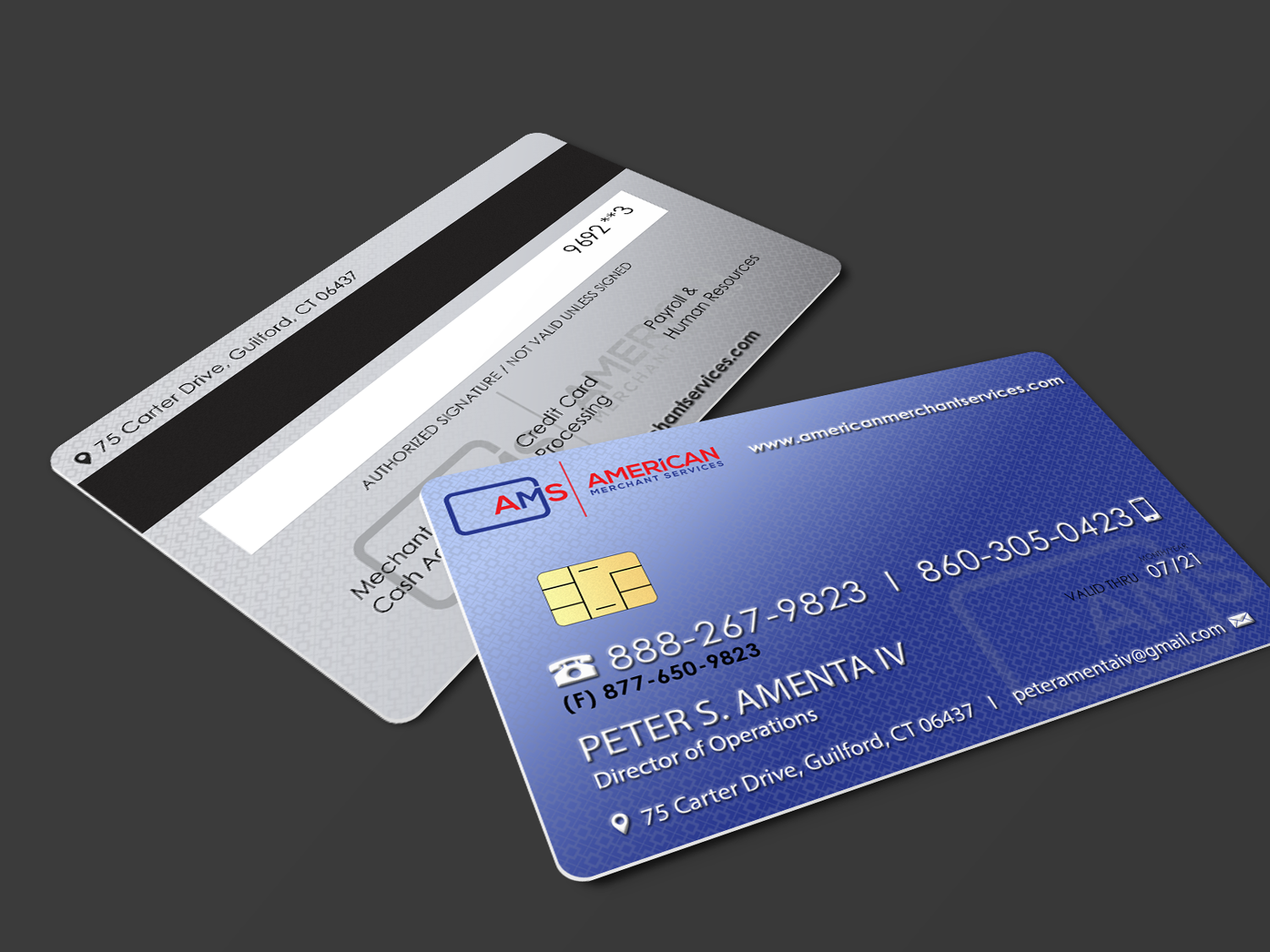 Elegant playful credit card business card design for american business card design by riz for american merchant services llc design 15370438 reheart Image collections