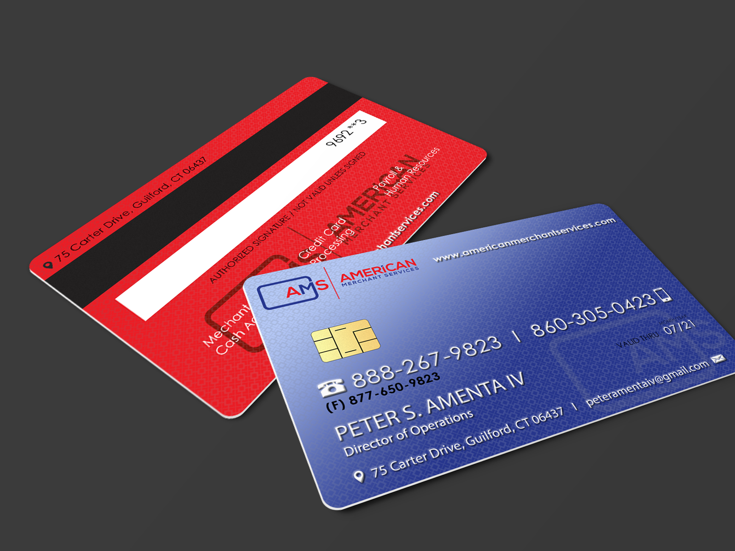 Elegant playful credit card business card design for american business card design by riz for american merchant services llc design 15417511 colourmoves