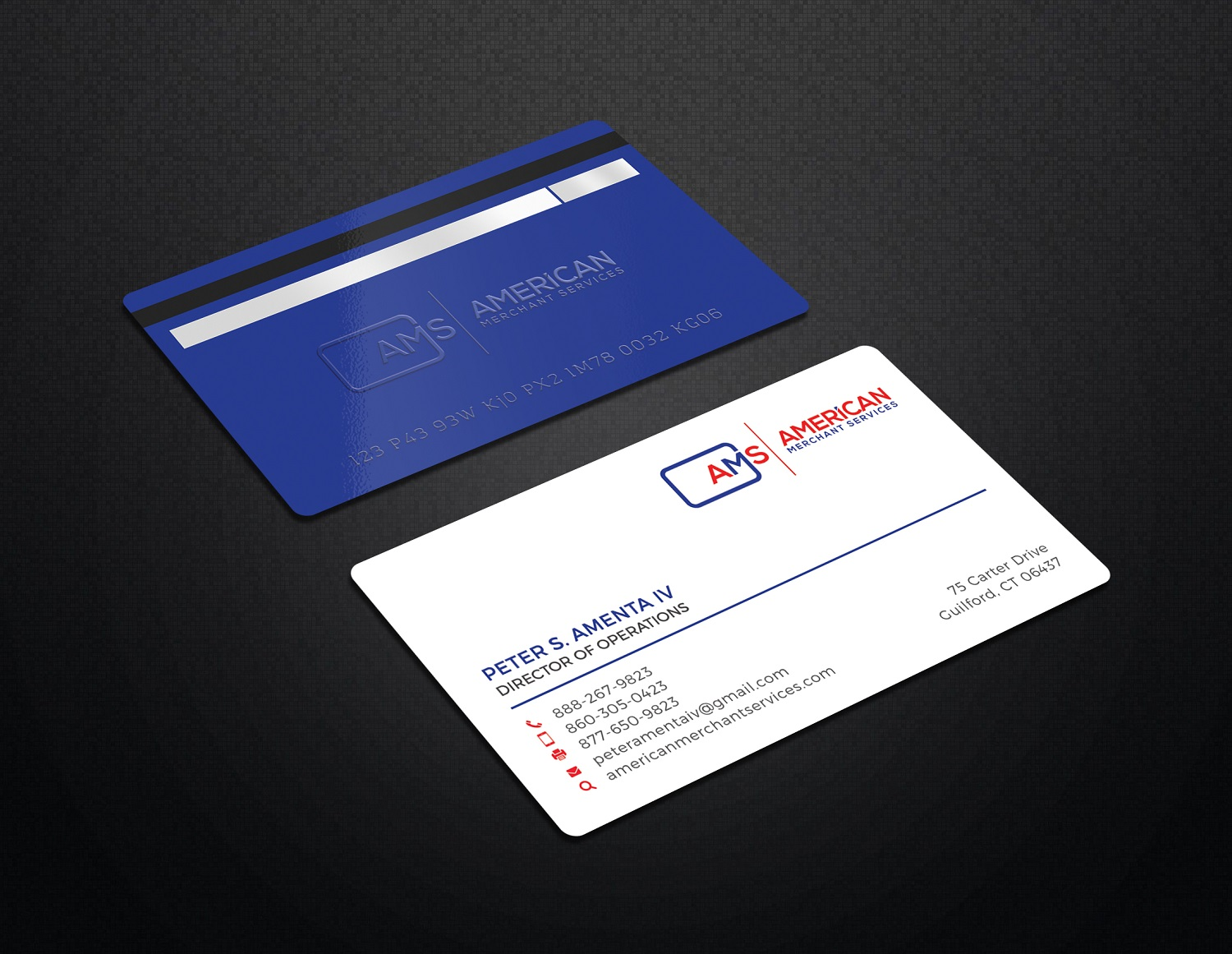 Elegant playful credit card business card design for american business card design by graphic flame for american merchant services llc design 15373545 colourmoves Gallery