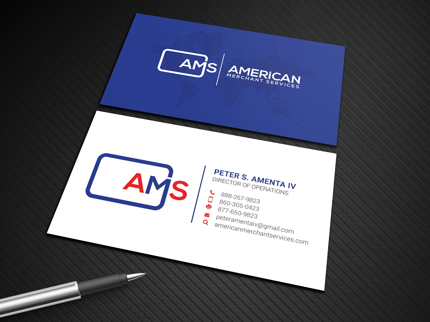 Elegant playful credit card business card design for american business card design by graphic flame for american merchant services llc design 15373563 reheart Image collections