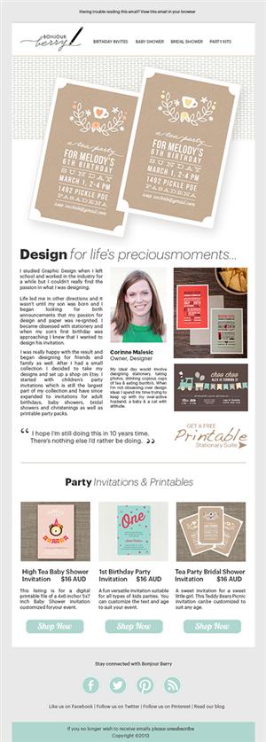 Playful modern newsletter design for corinne malesic by for Modern newsletter design