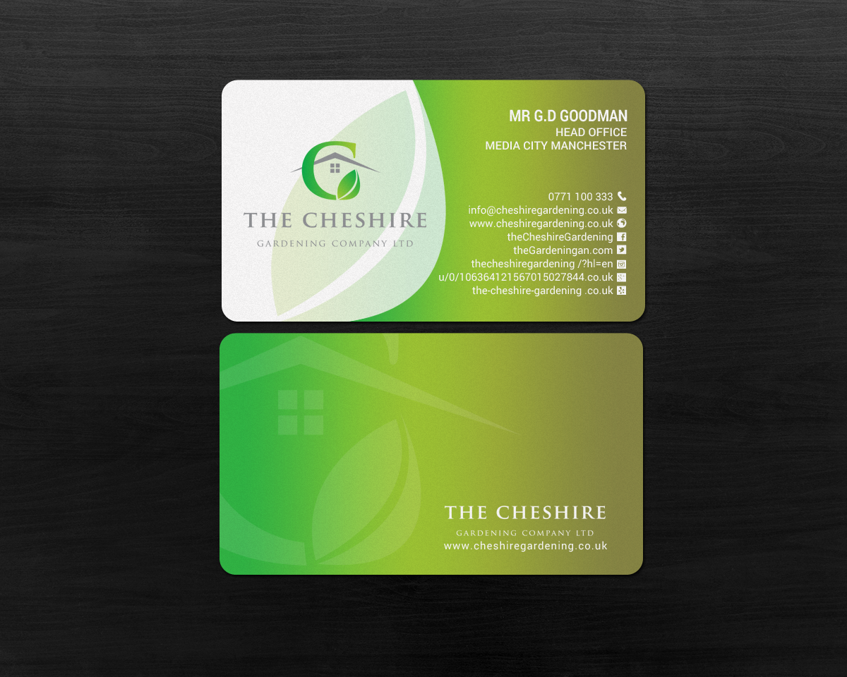 business card design by chandrayaancreative for business card design project for the cheshire - Garden Design Business Cards