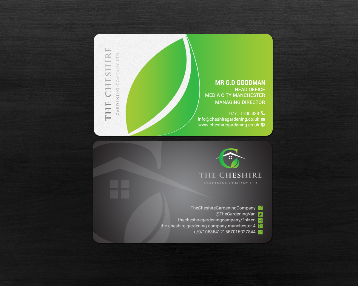 Business Card Design By Chandrayaan.creative For The Cheshire Gardening  Company Ltd | Design #