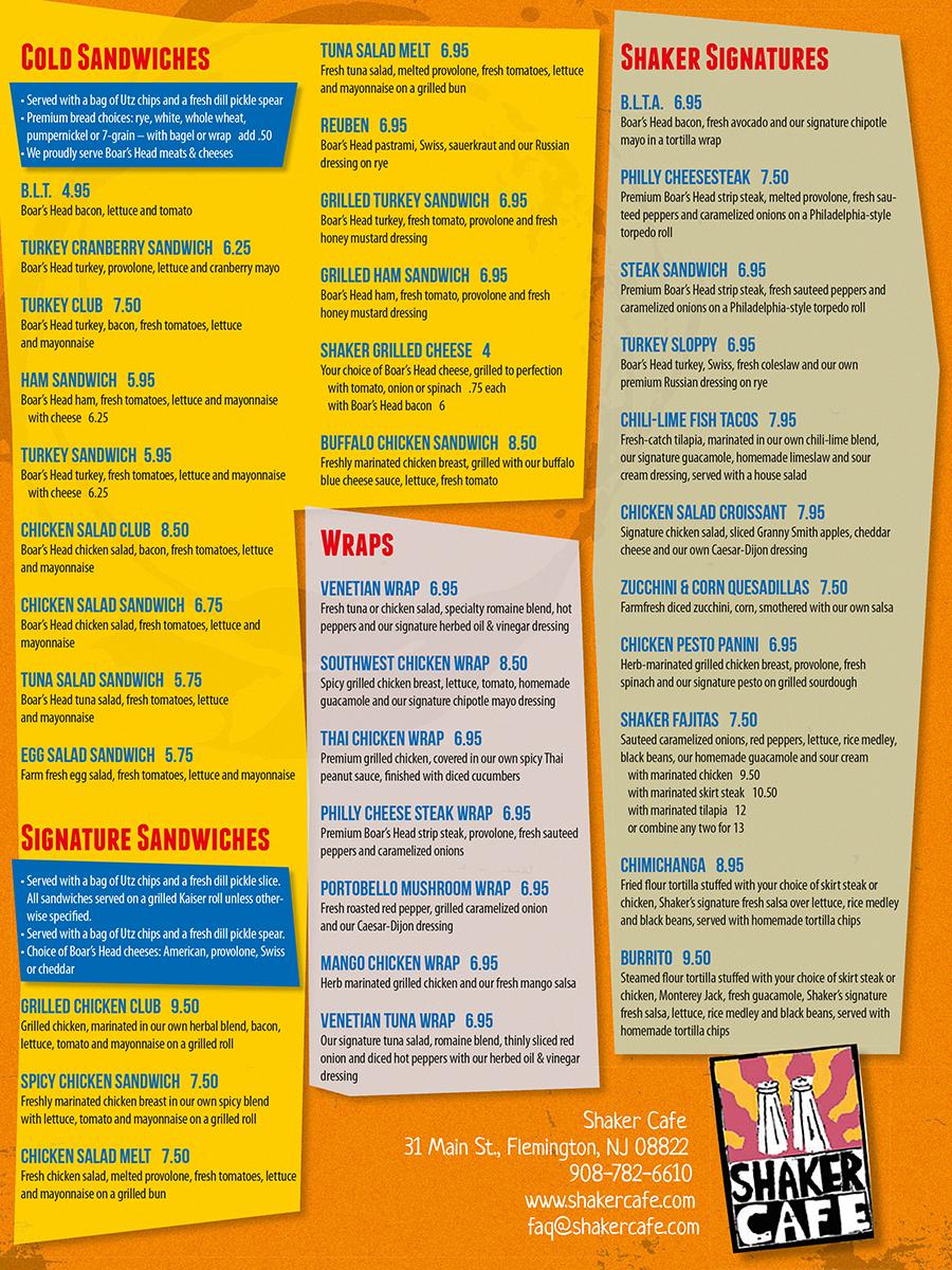 bold, personable menu design for dempsey enterprises, llc