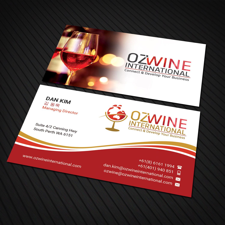 Business Card Design By Sandaruwan For Oz Wine International Needs A New