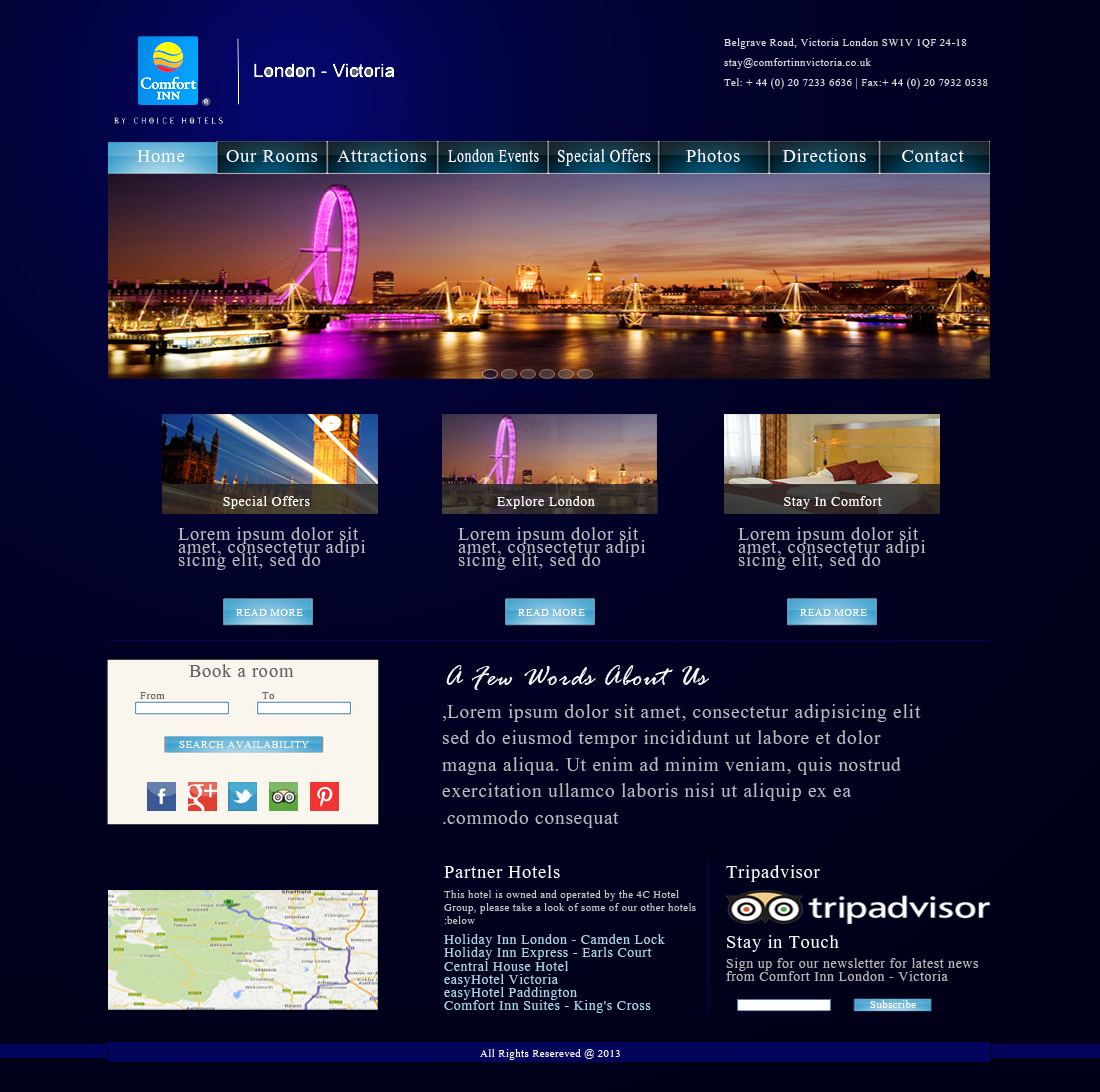 Upmarket modern hotel web design for booking whizz for Hotel web design