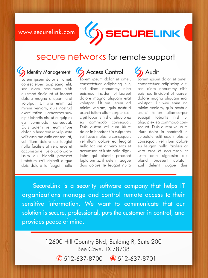 Professional, Serious Brochure Design for SecureLink, Inc. by ...