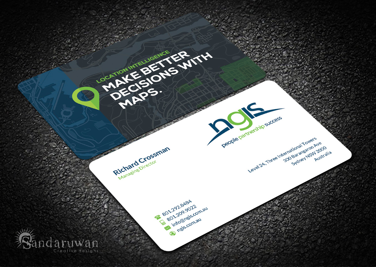 188 modern business card designs consultant business card design business card design by sandaruwan for ngis australia design 15570346 reheart Image collections