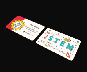 Bold modern business card design job business card brief for greg business card design job stem business card project for a stem teacher winning design reheart Choice Image