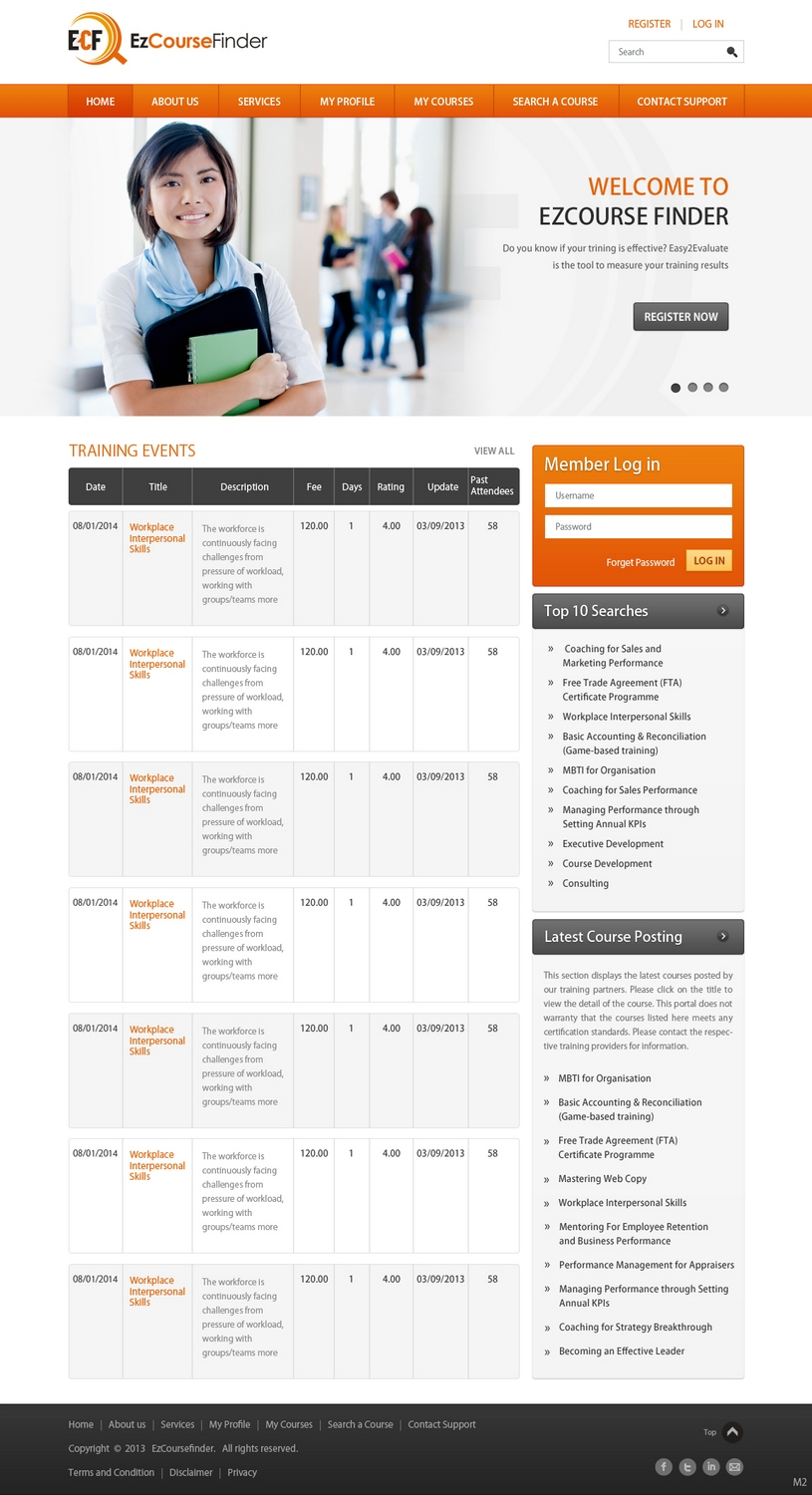 Modern professional training web design for fp for Design consultancy internship