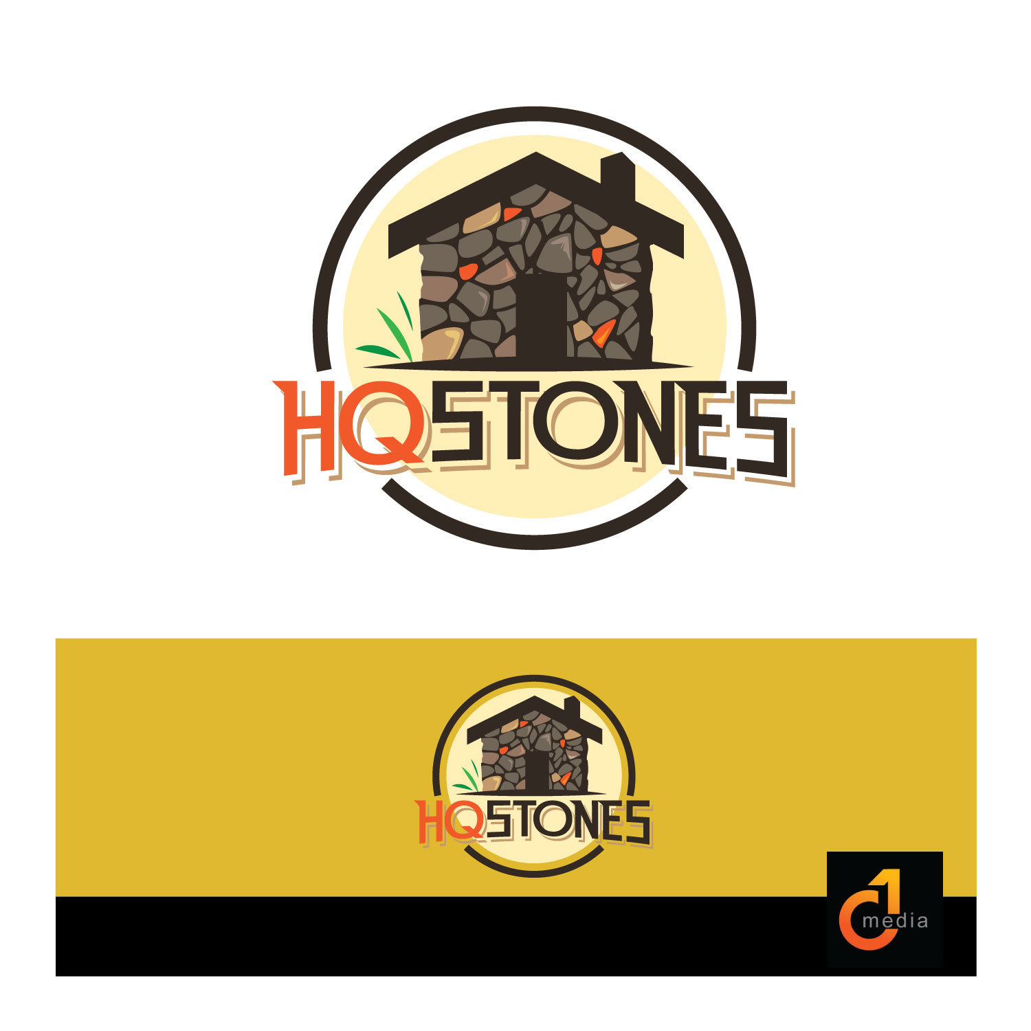 Masculine Modern Construction Logo Design For Hq Stones By