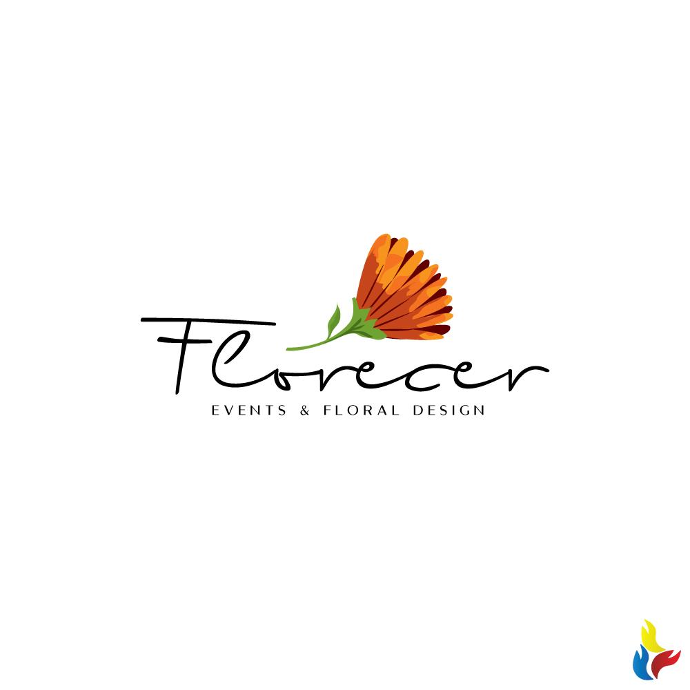 Elegant Modern Floral Logo Design For Florecer Events Floral