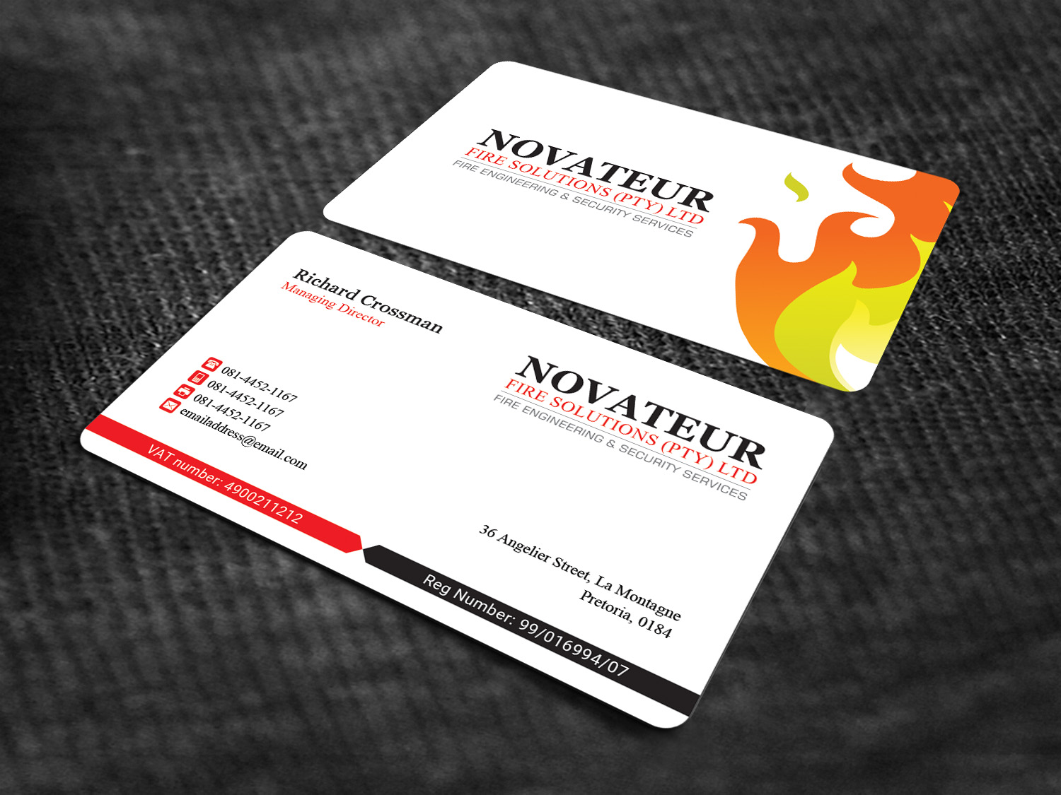 Professional serious fire safety business card design for business card design by sandaruwan for novateur fire solutions design 15708006 reheart Image collections