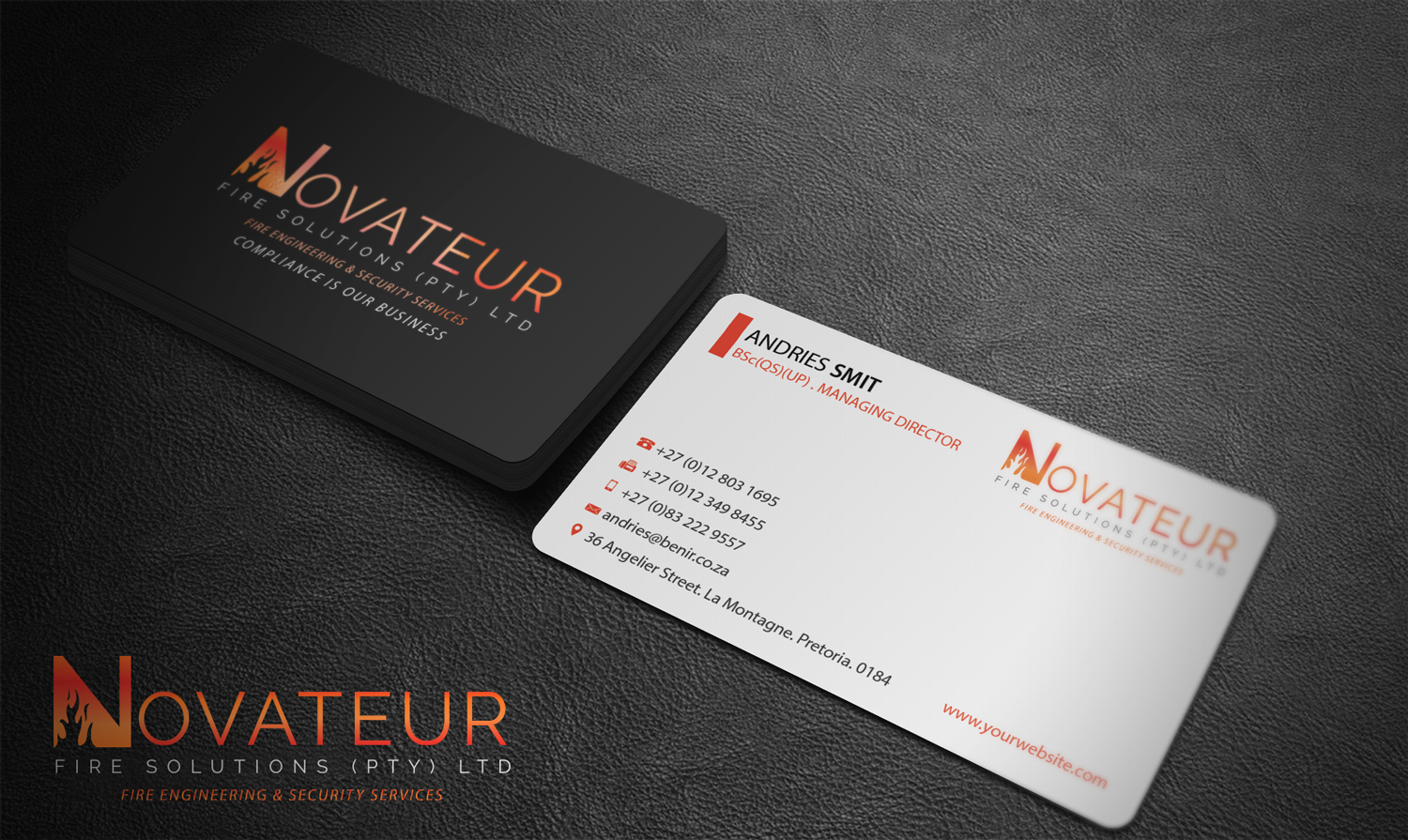Professional serious fire safety business card design for business card design by riz for novateur fire solutions design 15702057 colourmoves