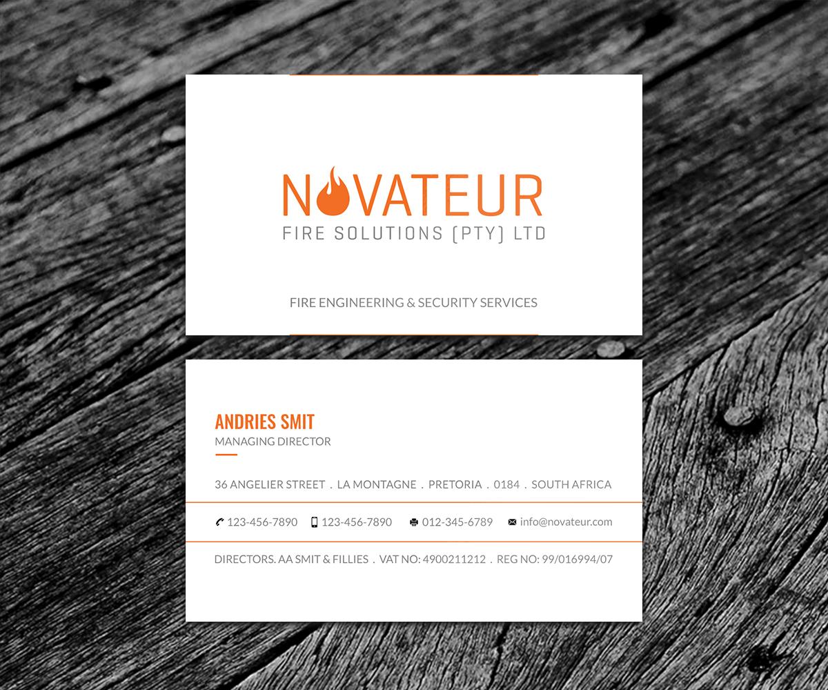Professional, Serious Business Card Design for Novateur Fire ...