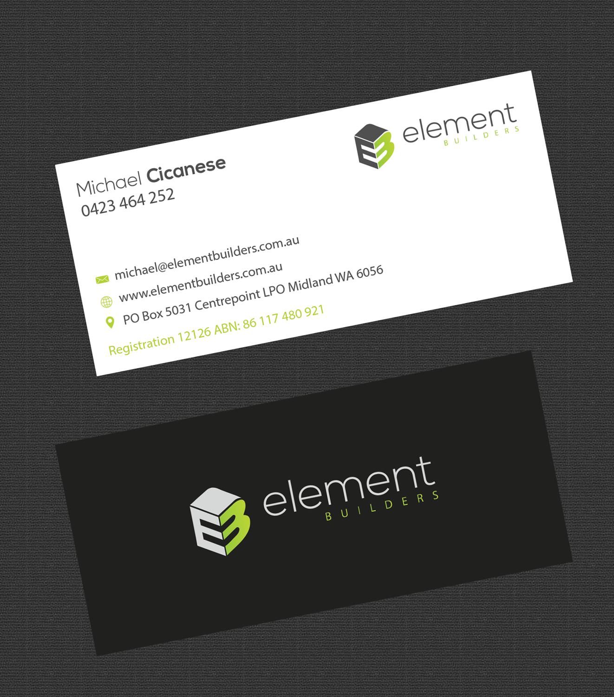 Modern, Professional, Construction Business Card Design for Element ...