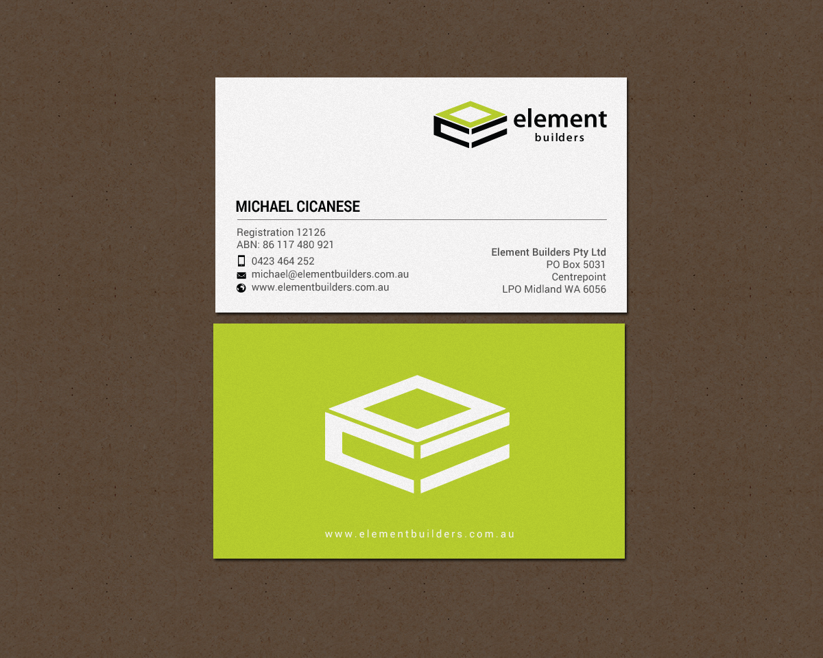 Modern Professional Construction Business Card Design For