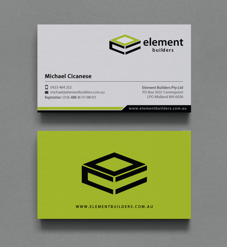 Modern professional construction business card design for element business card design by chandrayaaneative for element builders design 15707446 reheart Image collections