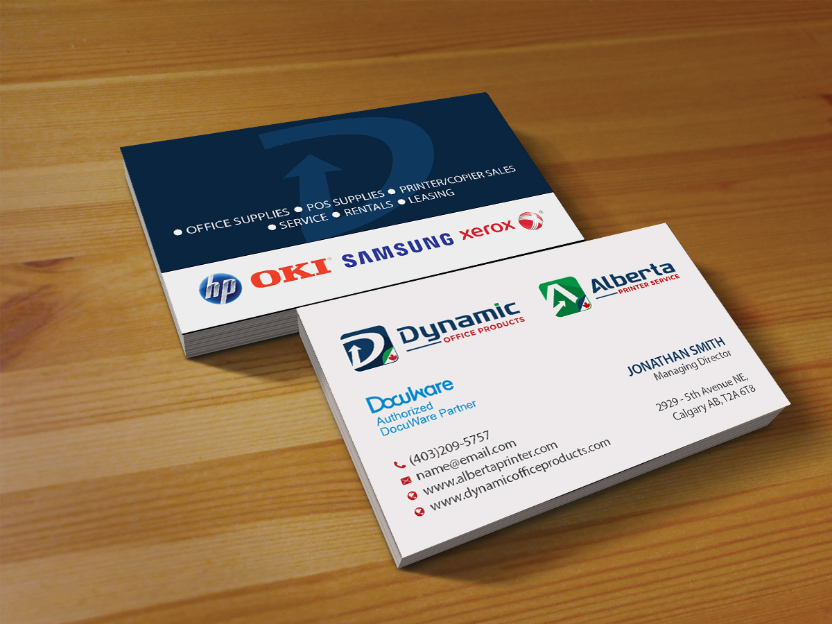 Elegant serious business card design for dynamic office products business card design by creations box 2015 for business card for printercopier and office reheart Choice Image
