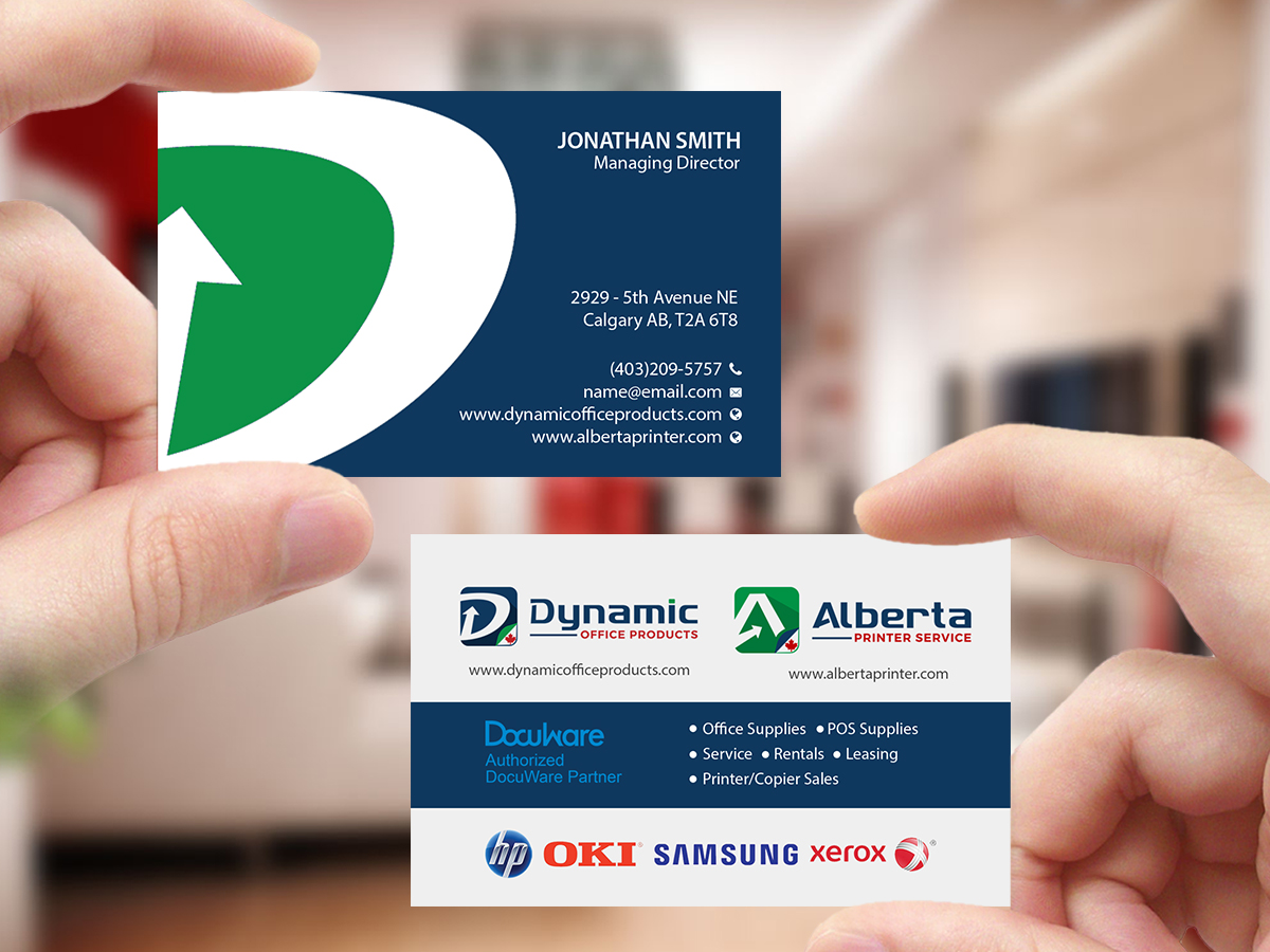 Elegant Serious Office Supply Business Card Design For Dynamic