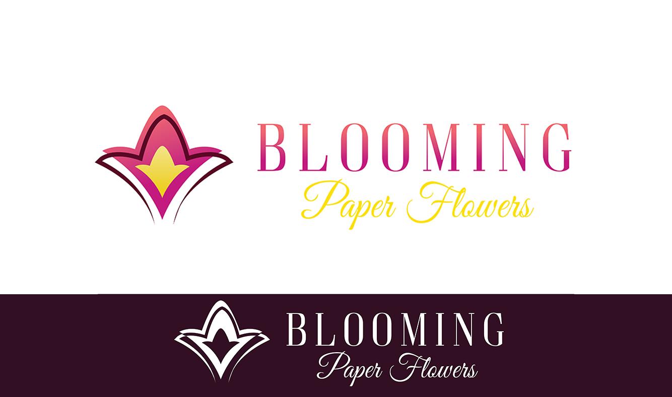 Elegant Feminine Floral Logo Design For Blooming Paper Flowers By