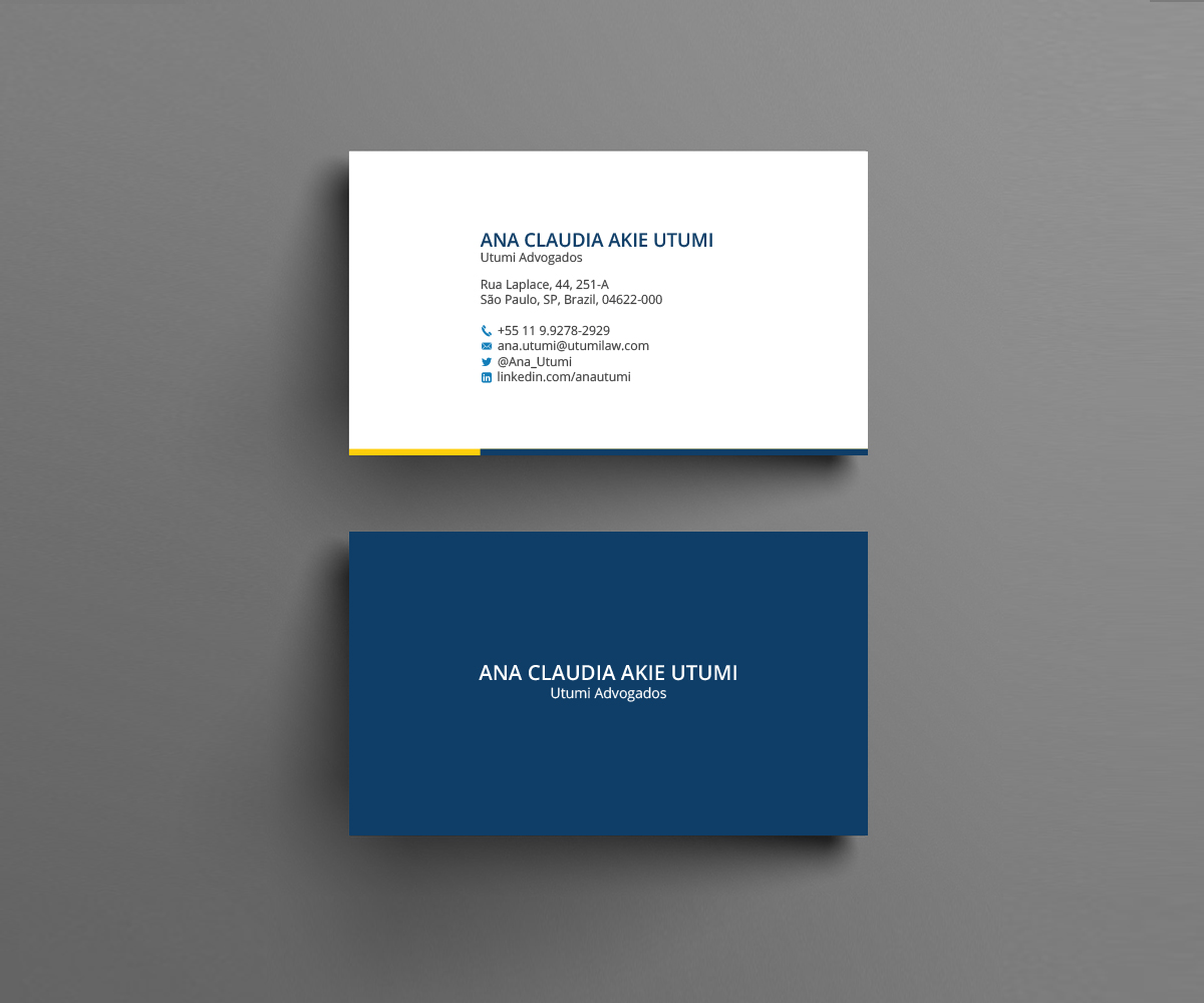 Modern professional law firm business card design for utumi business card design by rightd for utumi advogados design 15764281 reheart Gallery
