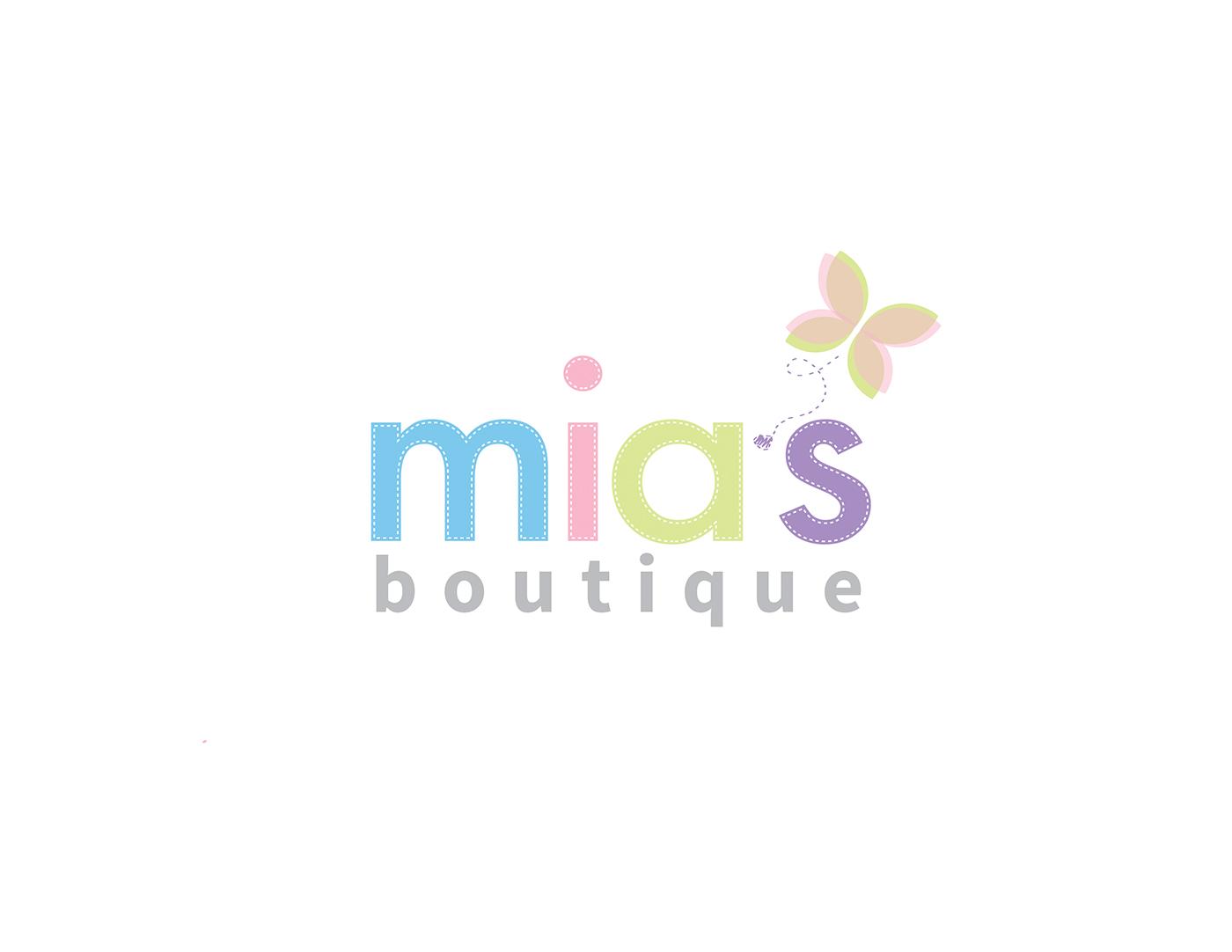 colorful elegant clothing logo design for mias boutique