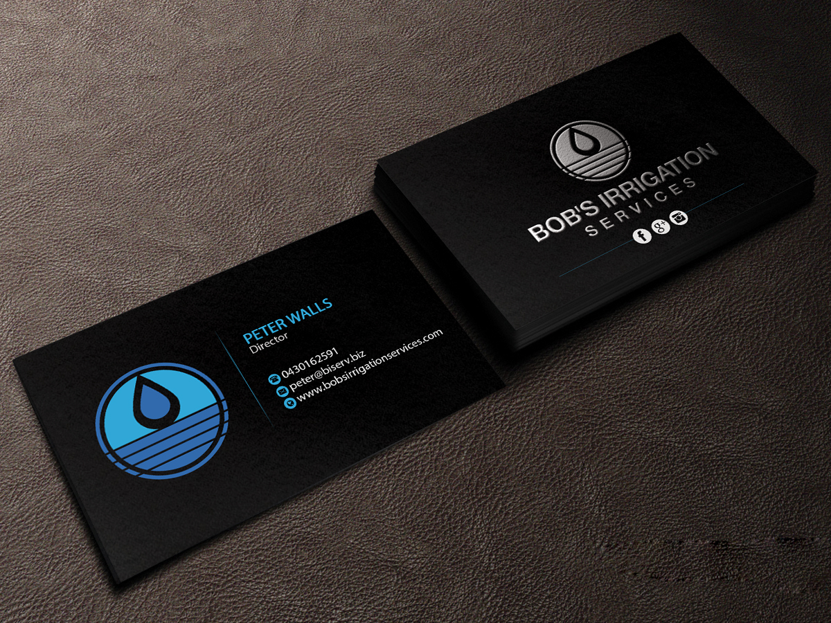 Business Card Design By Creations Box 2015 For Bobs Irrigation Services