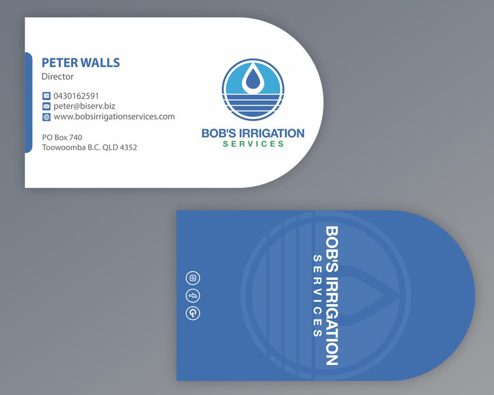 Upmarket modern business business card design for bobs irrigation business card design by madhuraminfotech for bobs irrigation services design 15806890 reheart Choice Image