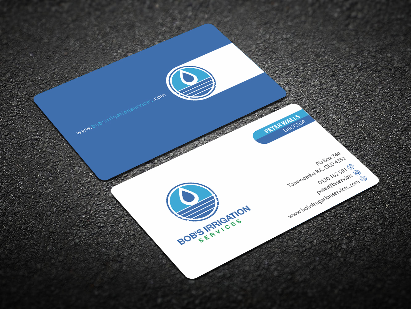 Upmarket modern business business card design for bobs irrigation business card design by madhuraminfotech for bobs irrigation services design 15811189 reheart Images