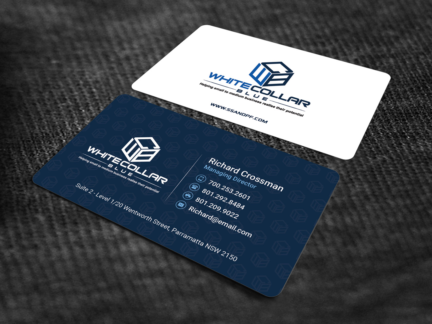 Bold, Modern, Business Business Card Design for WhiteCollarBlue by ...