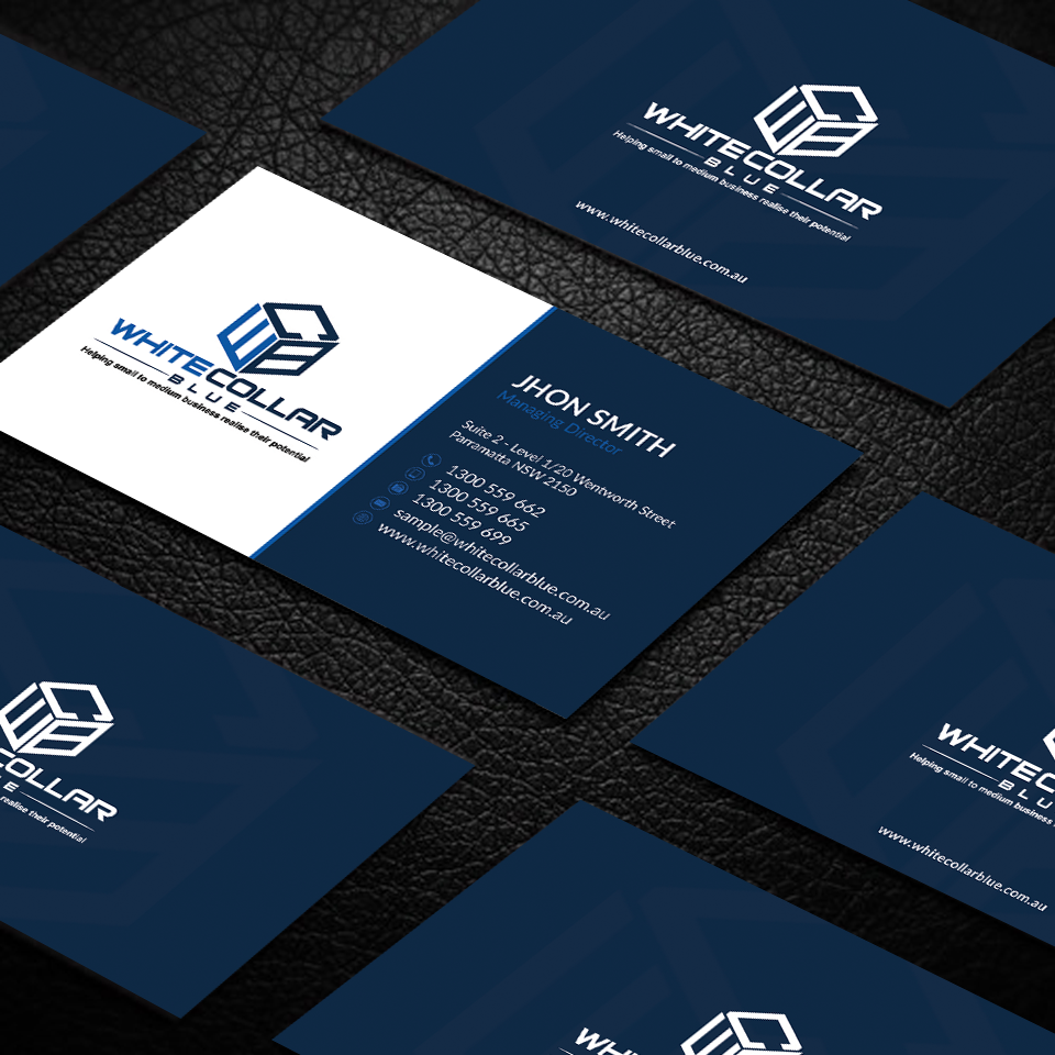 Bold, Modern Business Card Design for WhiteCollarBlue by -sanrell ...