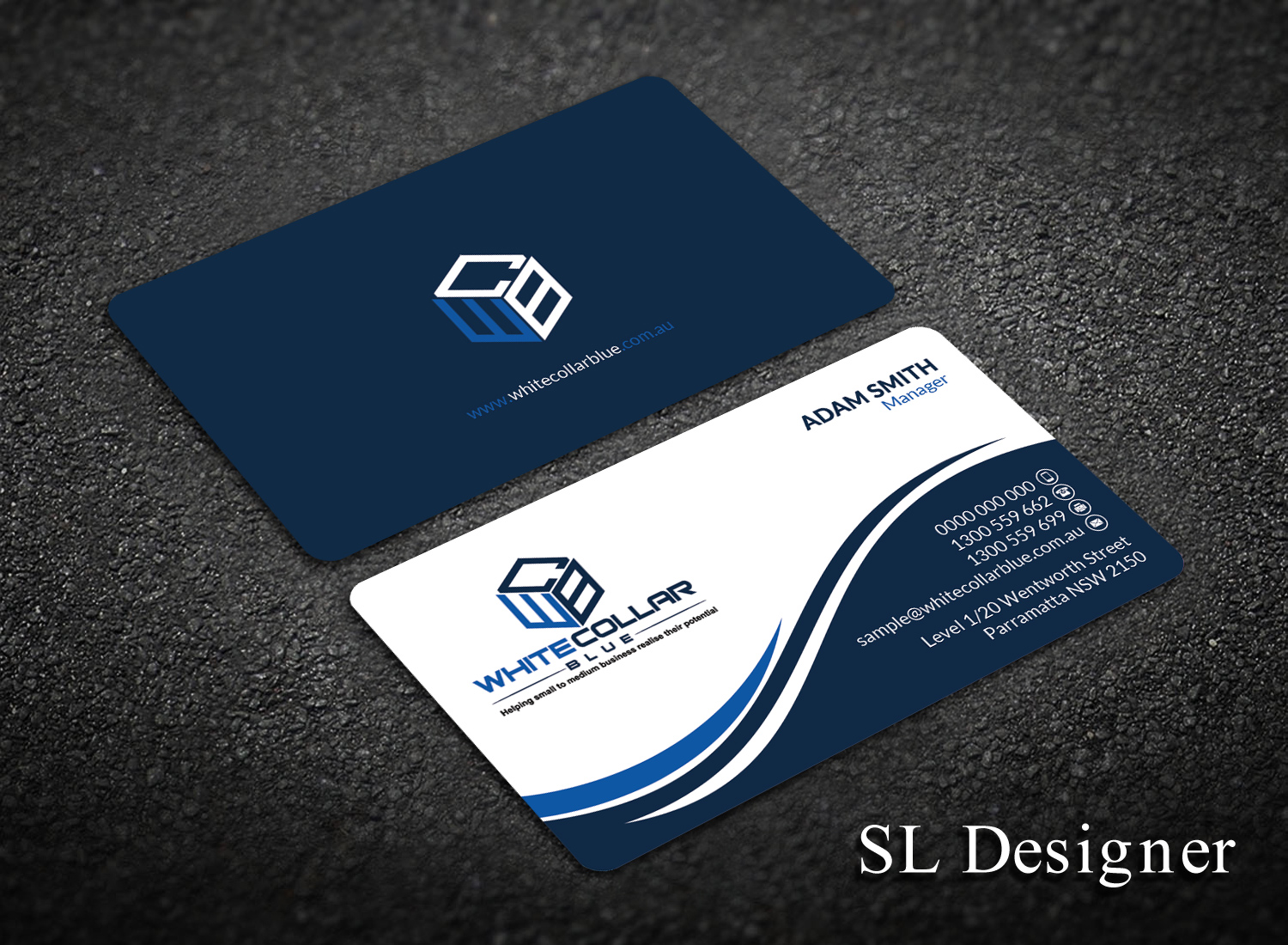 Bold, Modern Business Card Design for WhiteCollarBlue by SL ...