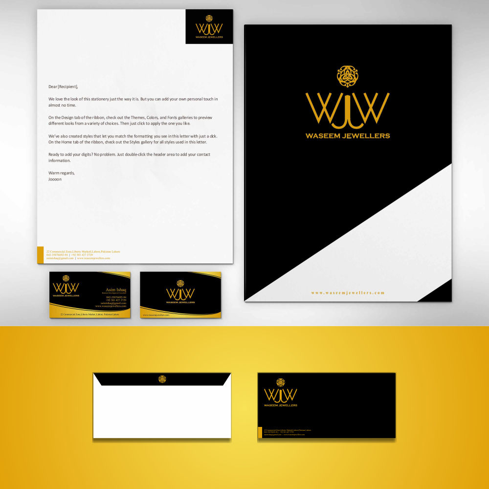 Professional, Upmarket Stationery Design for Waseem Jewellers by