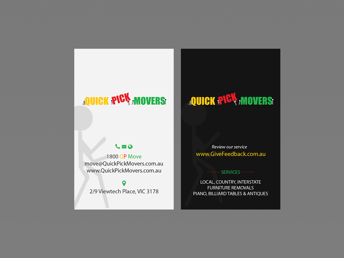 Playful, Colorful Business Card Design for Quick Pick Movers by ...