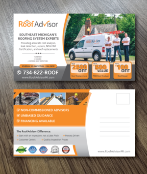 postcard design design 15960991 submitted to fall postcard mailers for roofing company - Postcard Design Ideas