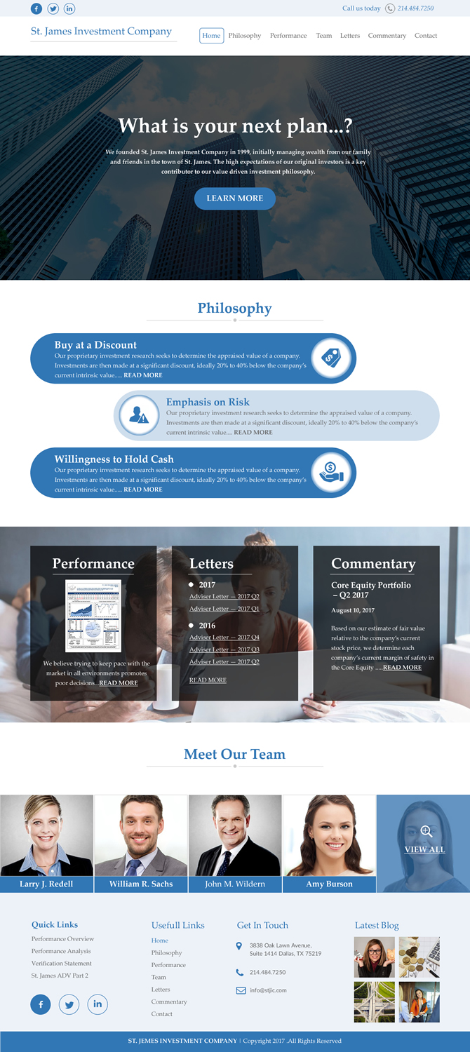 Serious, Professional, Financial Web Design for St  James