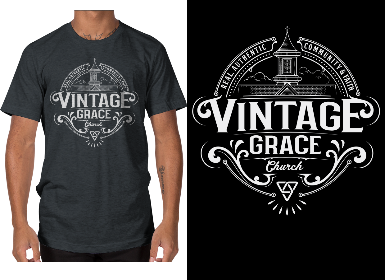Bold Playful Church T Shirt Design For Vintage Grace Church By