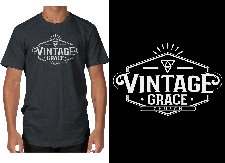 Bold Playful Church T Shirt Design For Vintage Grace