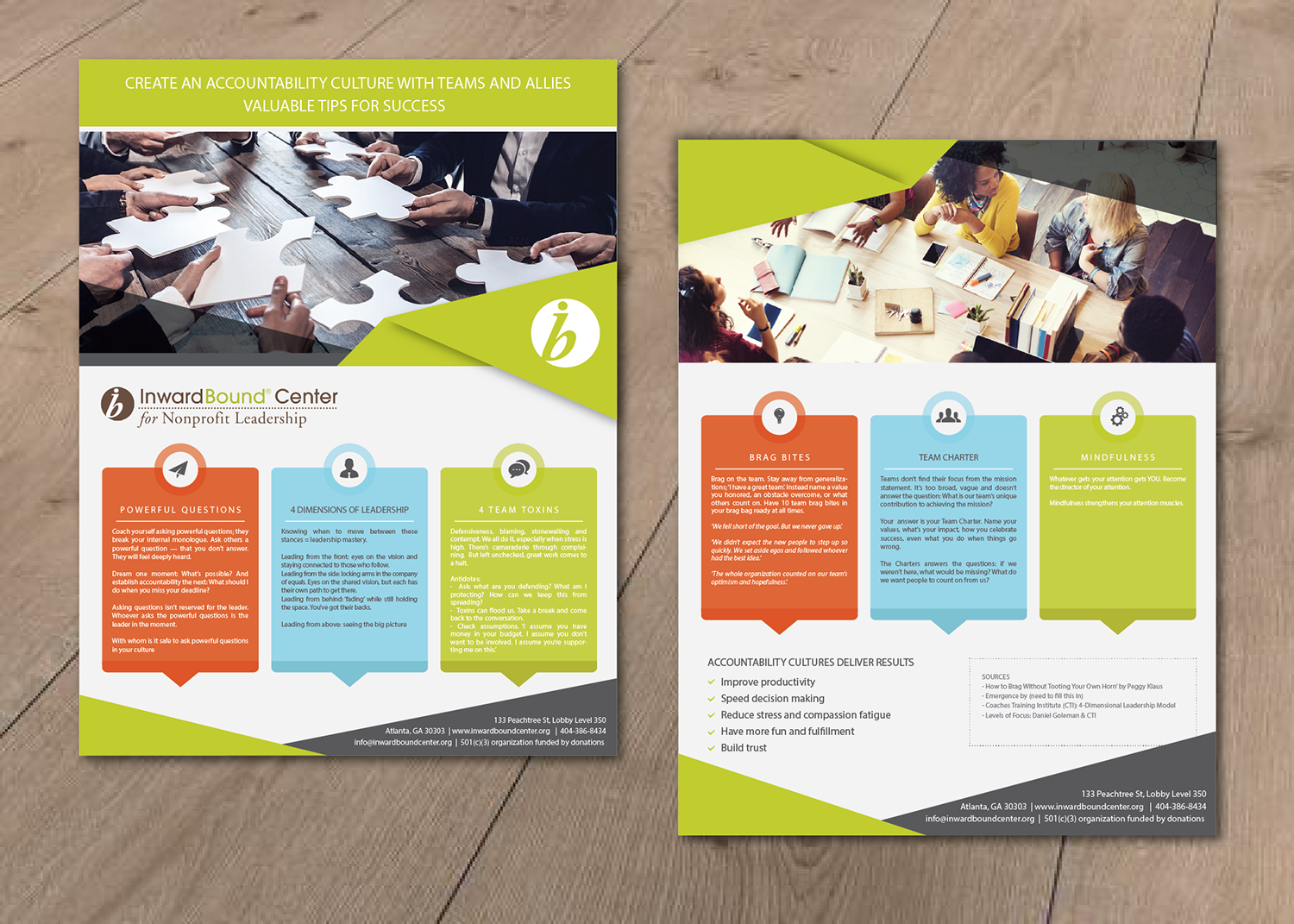 colorful professional training flyer design for inwardbound center