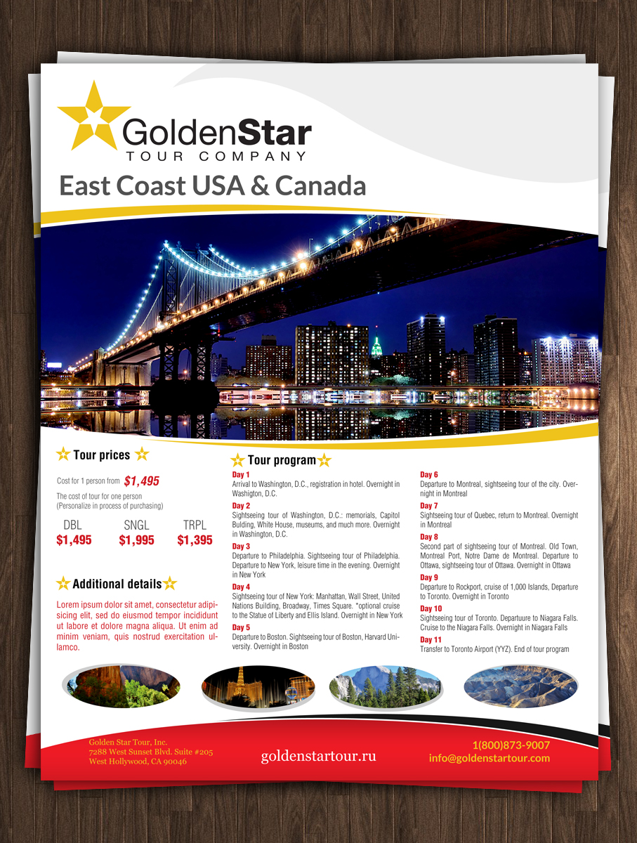 it company flyer design for golden star tour inc by esolz